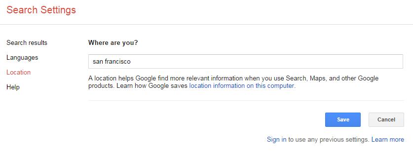 search location screen