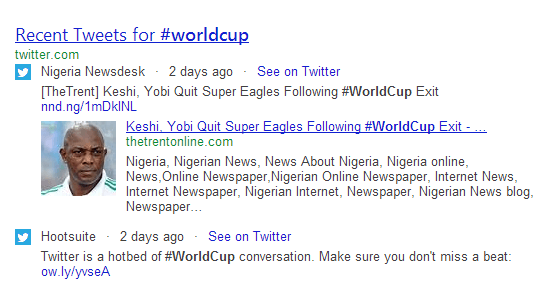 tweet search results