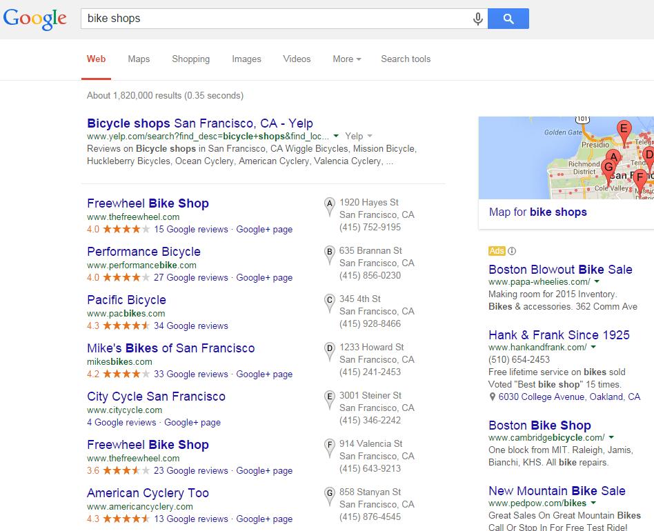 bike shops search results