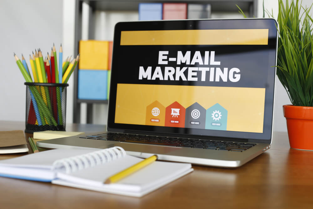 email marketing text on laptop