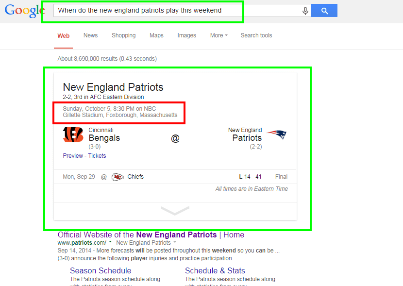patriots google search