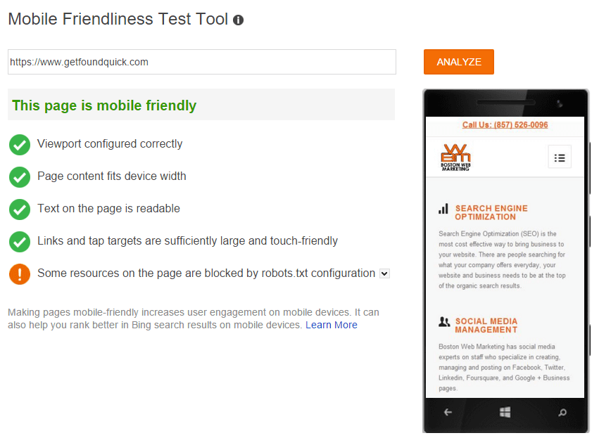 Bing Mobile Friendly Testing Tool