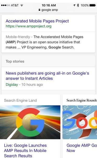 Google AMP results