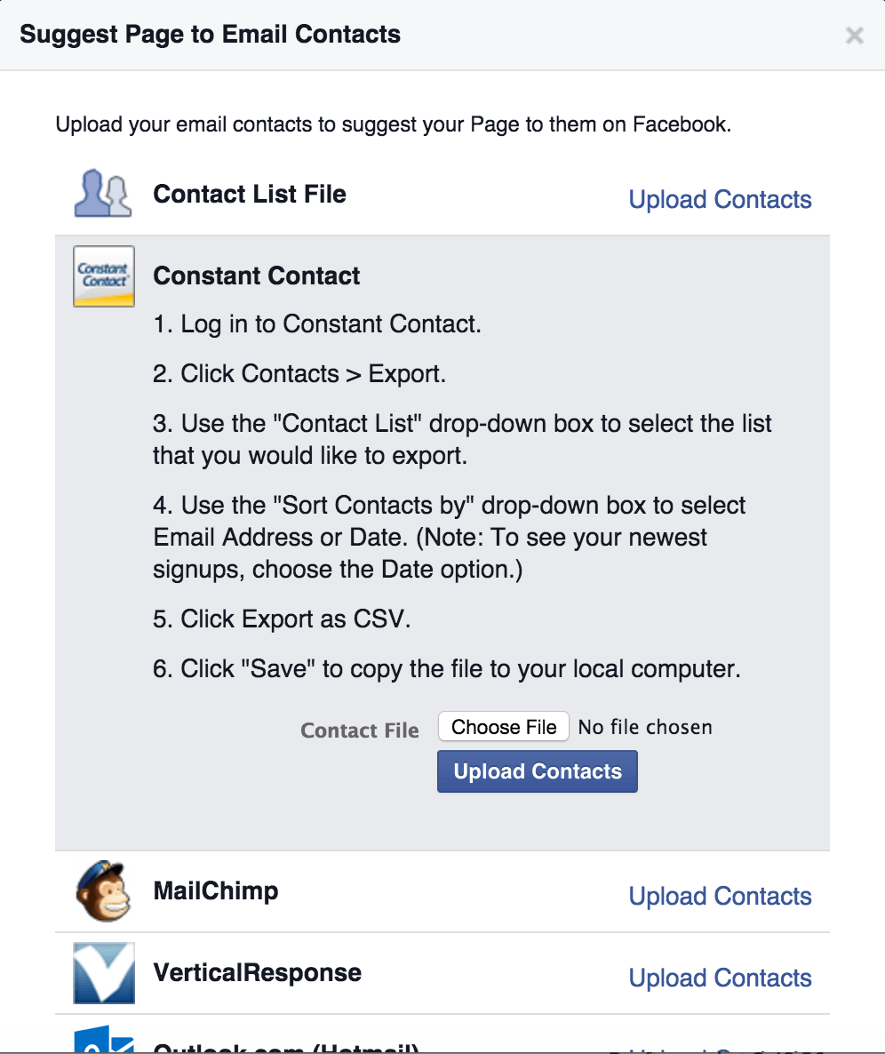 Contact File List Uploaded into Facebook