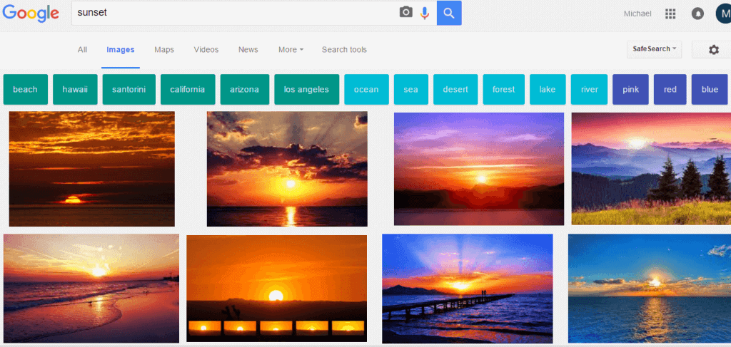 sunset google search color filter