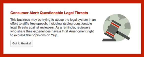 YELP legal action message