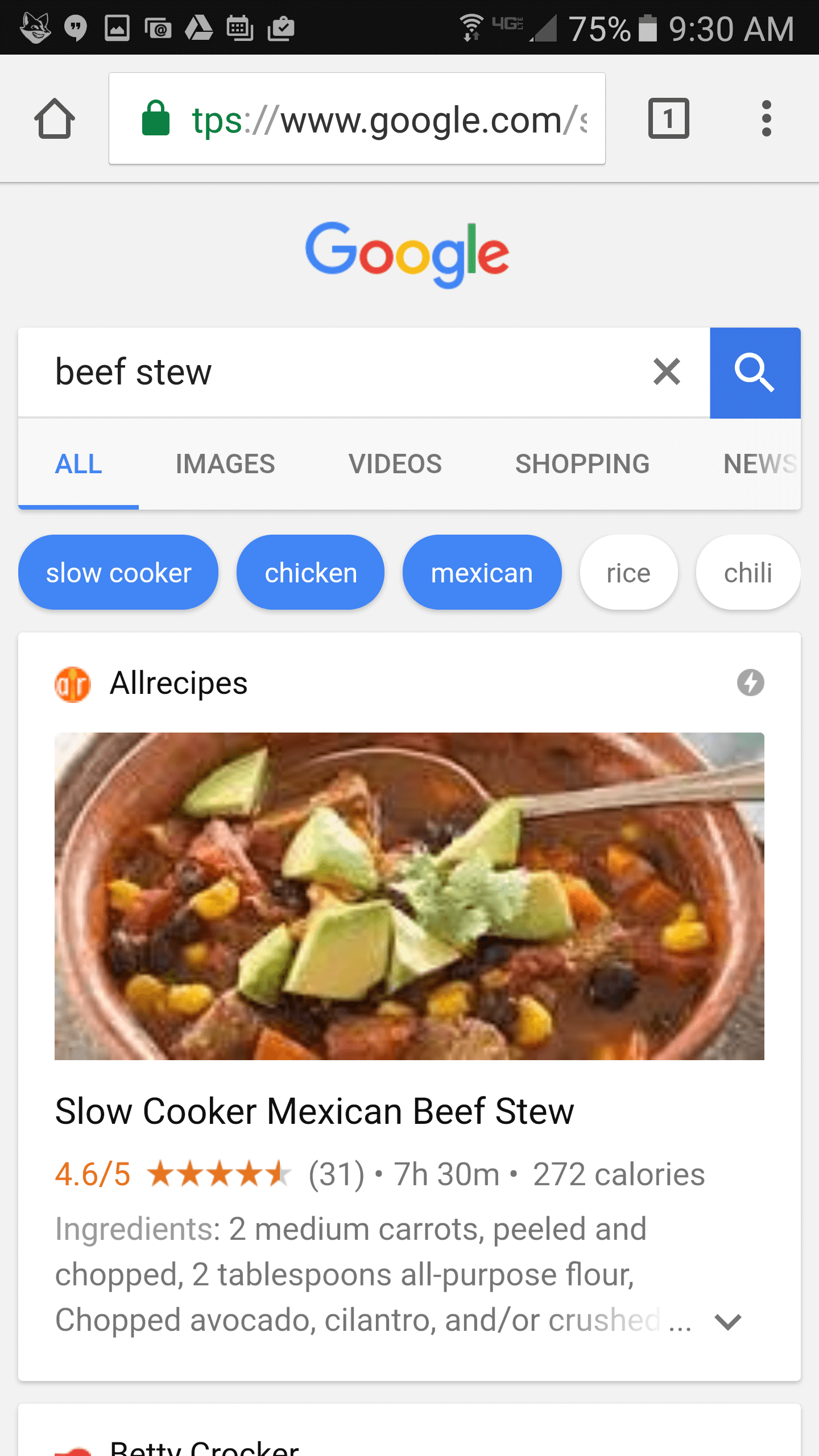 filtered mobile search for recipes