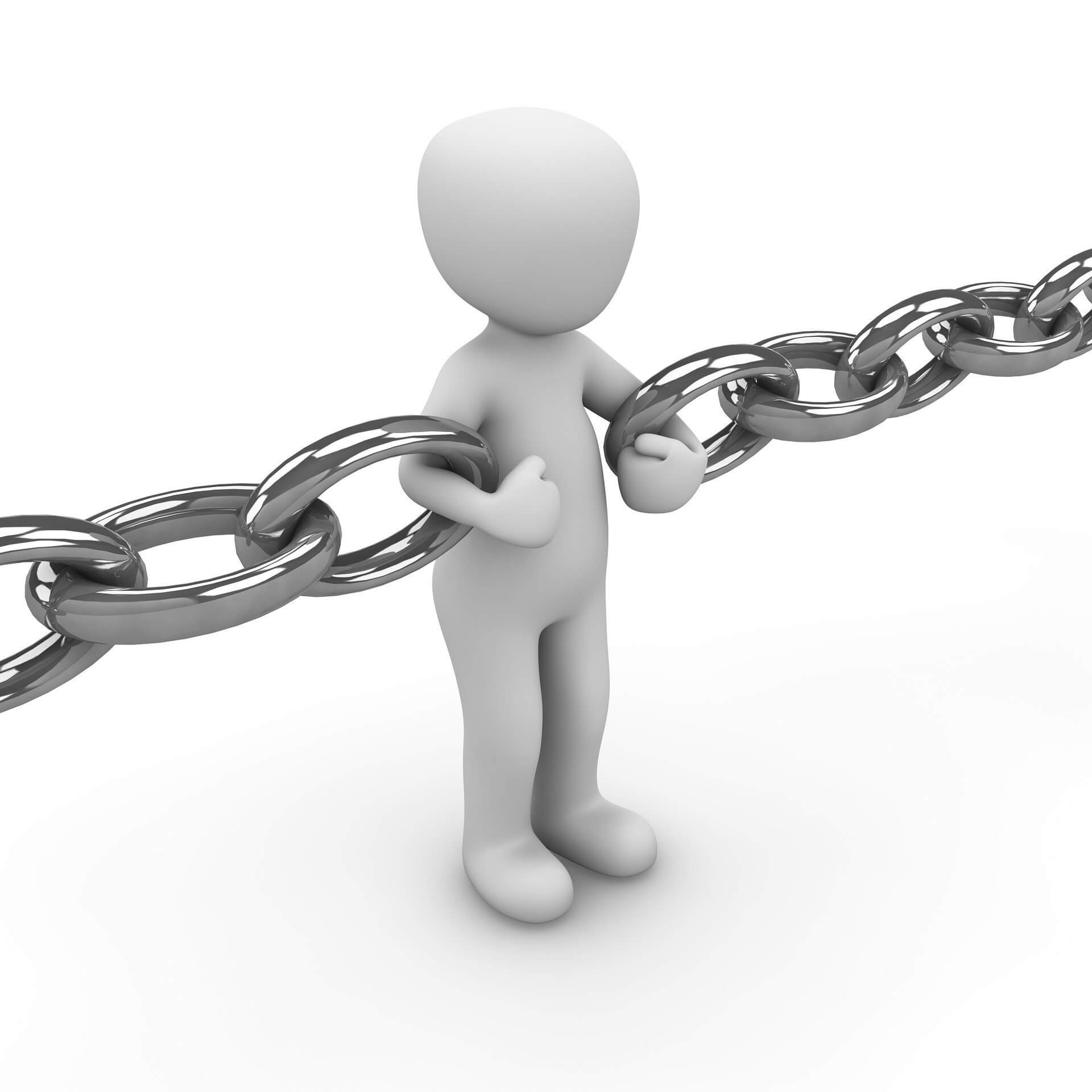 figure acting as a link in a chain for seo backlinks