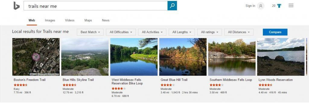 bing trails near me search query