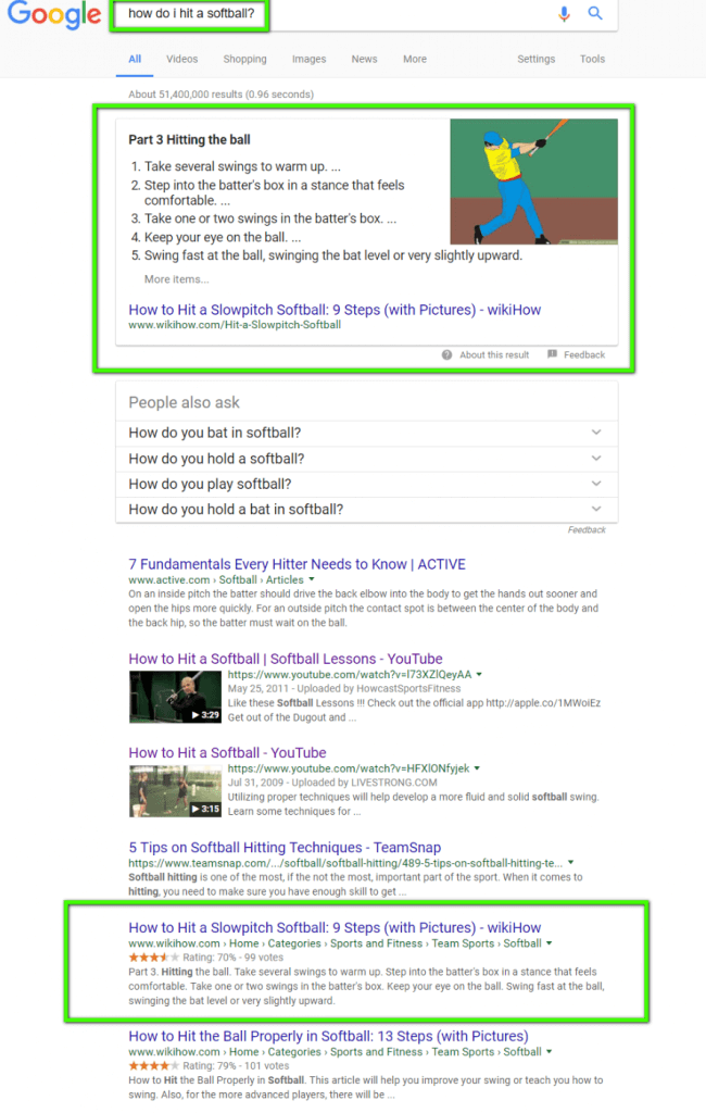 featured snippet in search engine results