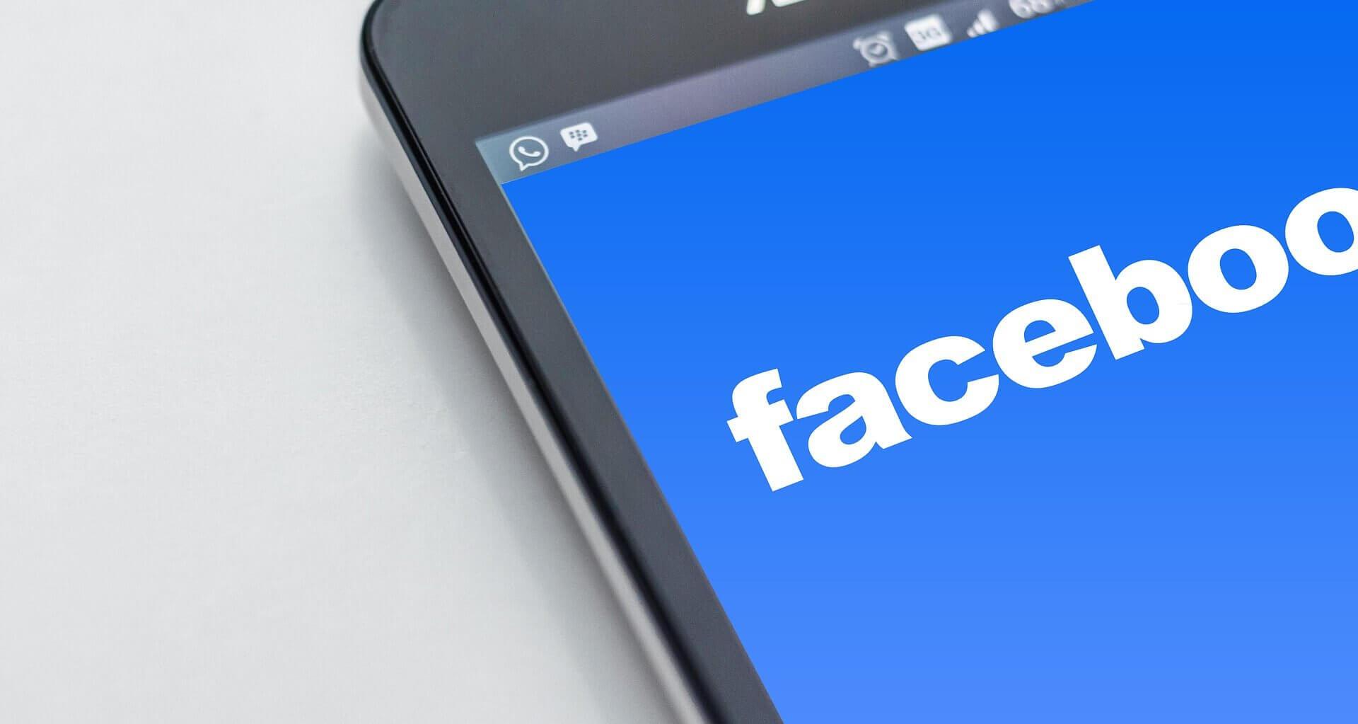 Facebook logo on mobile device
