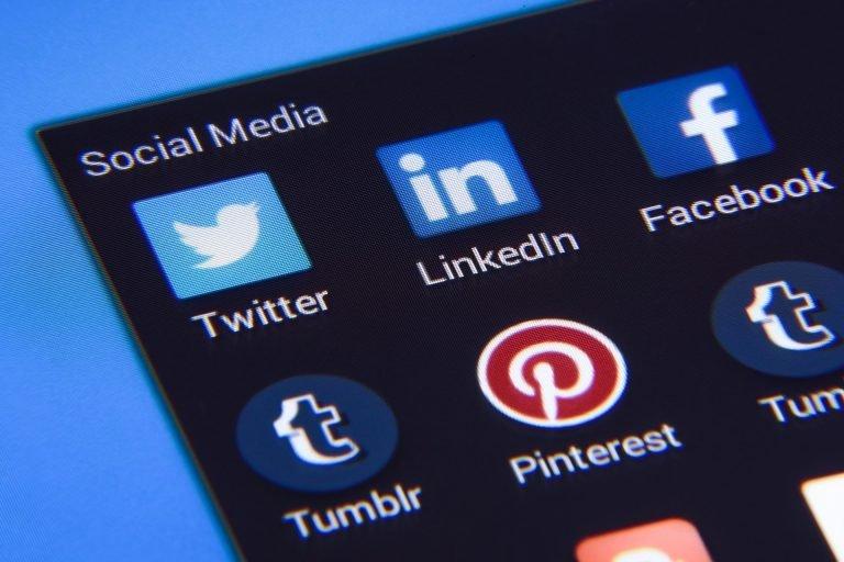 social media app icons on phone