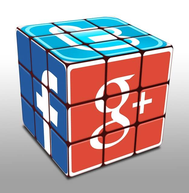 rubix cube with logos of facebook, google+, and twitter