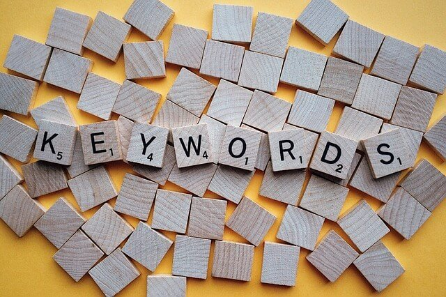 Keywords spelled out with Scrabble tiles