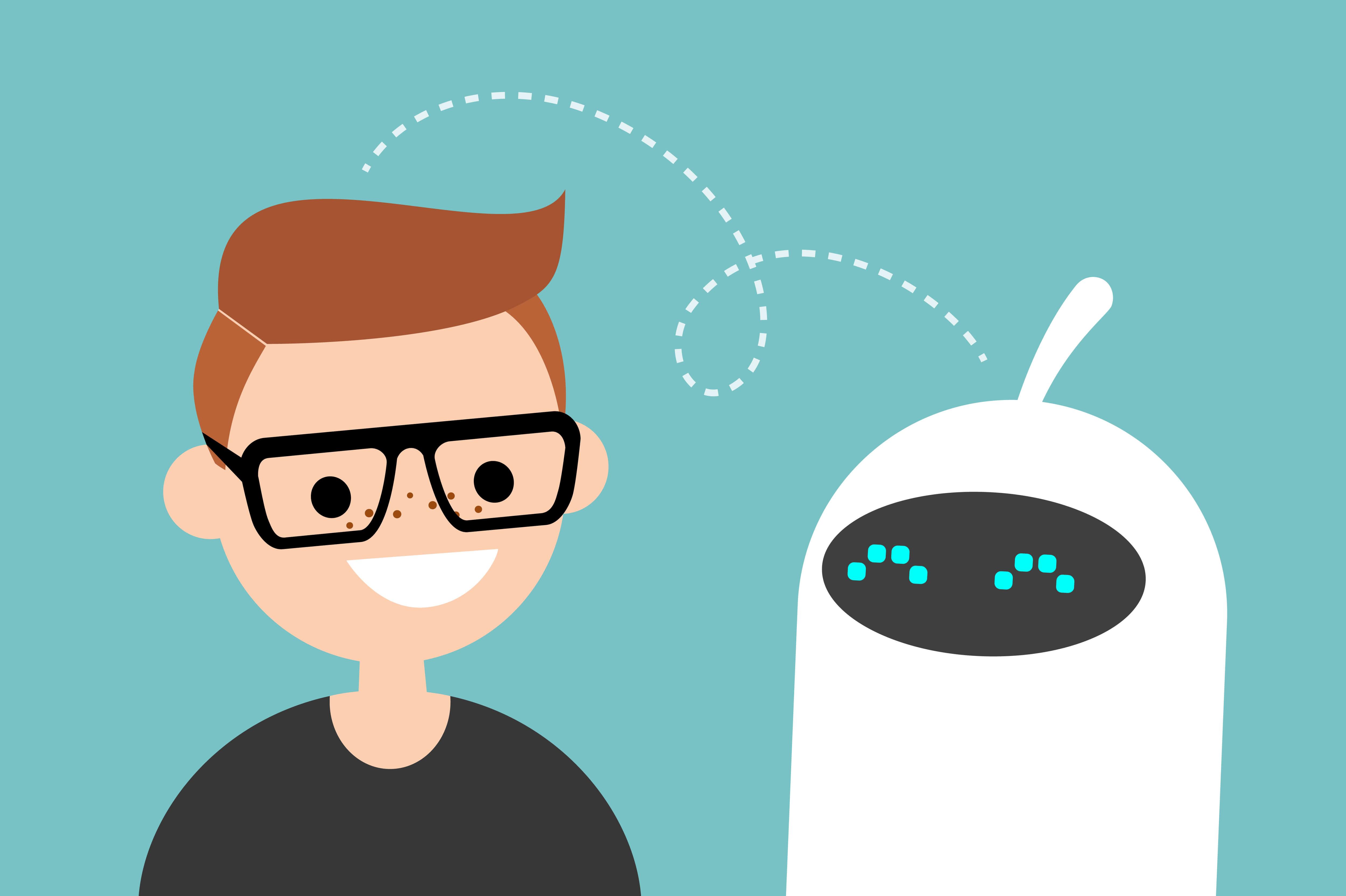 Cartoon guy and robot