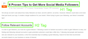 example of htags