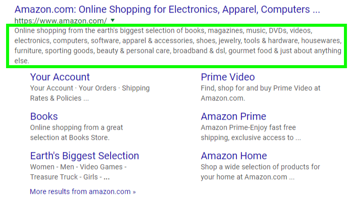 Google Snippet for Amazon