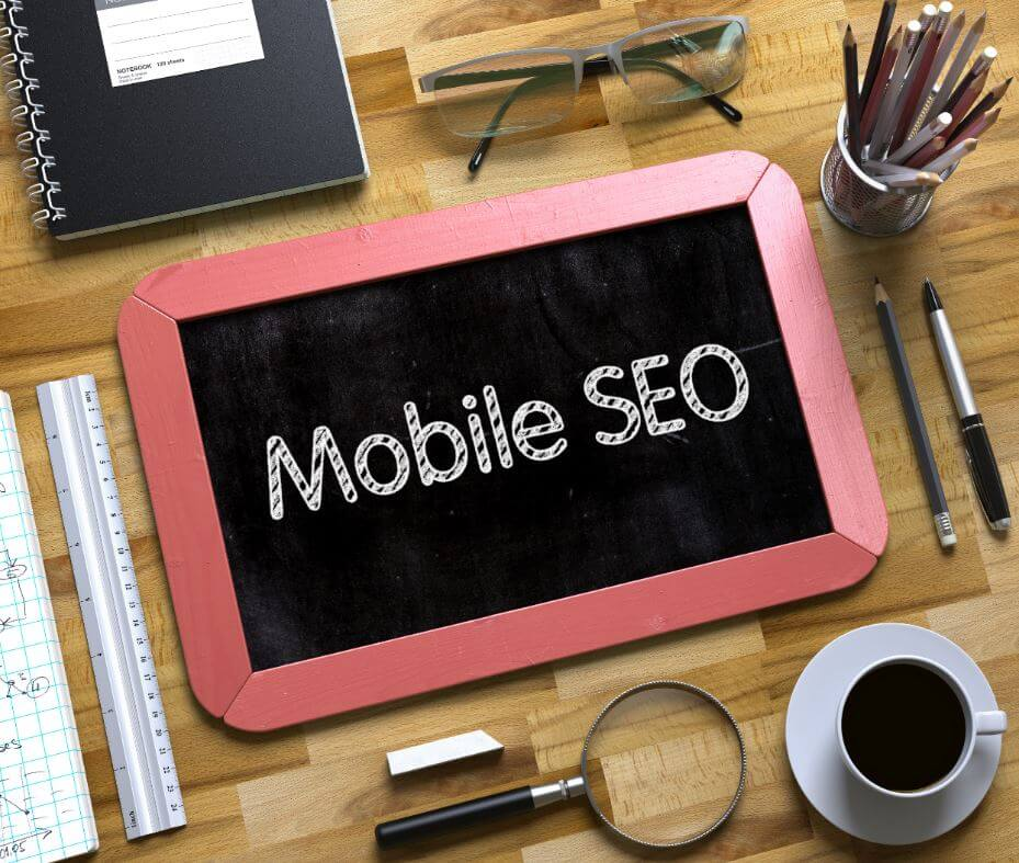 "chalk board with ""mobile seo"" written on it"
