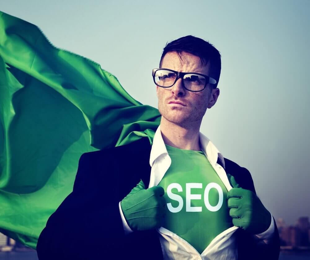A photograph of an SEO superhero.