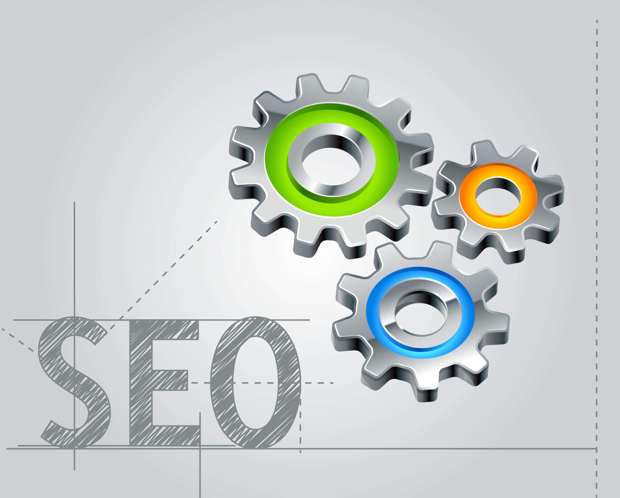 graphic of SEO and gears