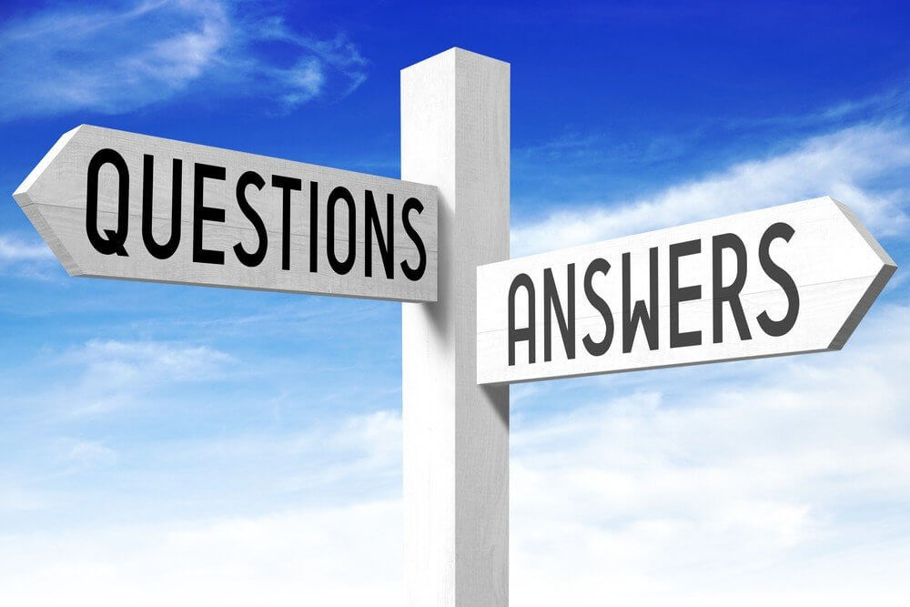 Signs pointing to questions and answers