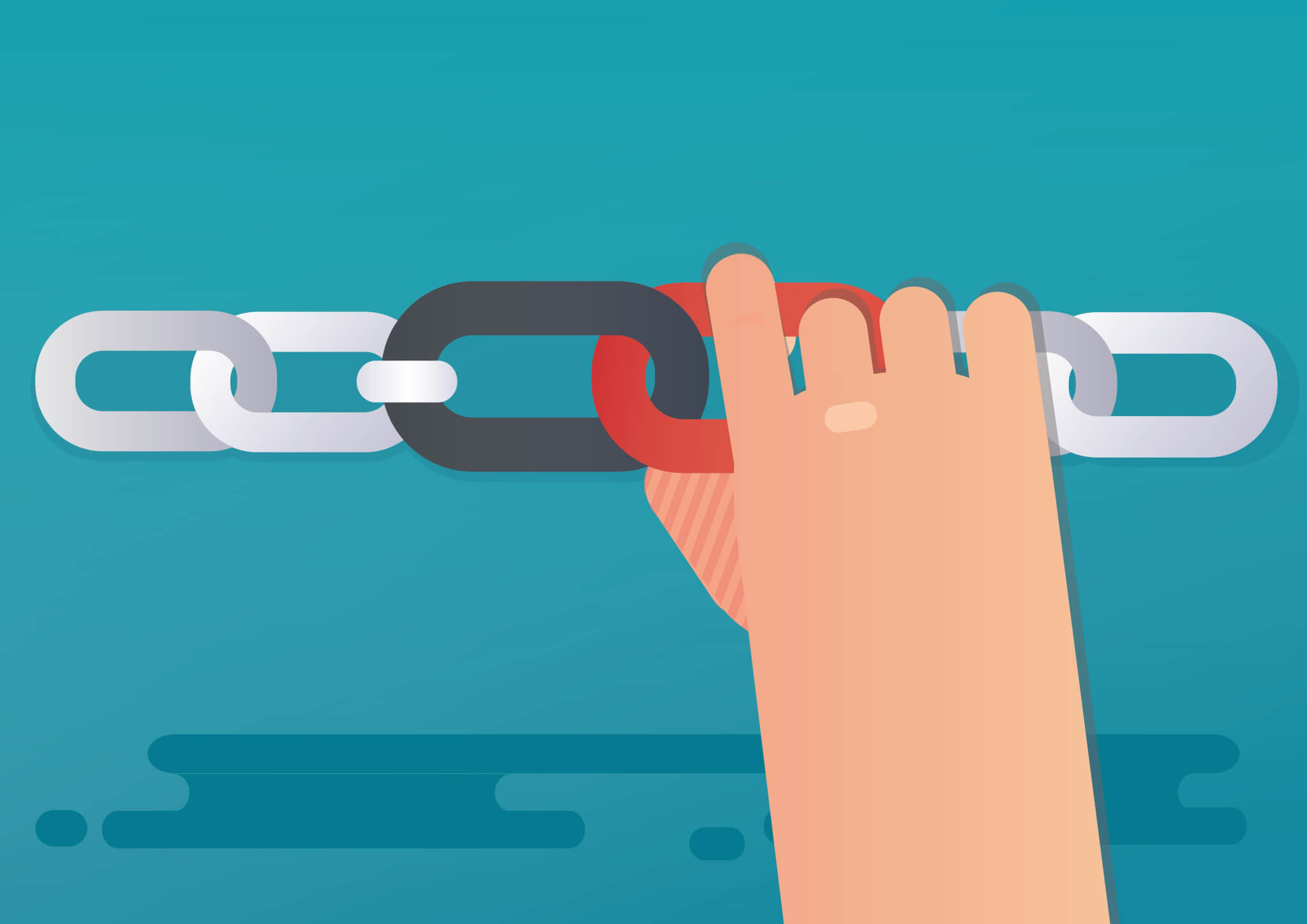 Hand holding a link building a chain