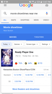 movie showtime page