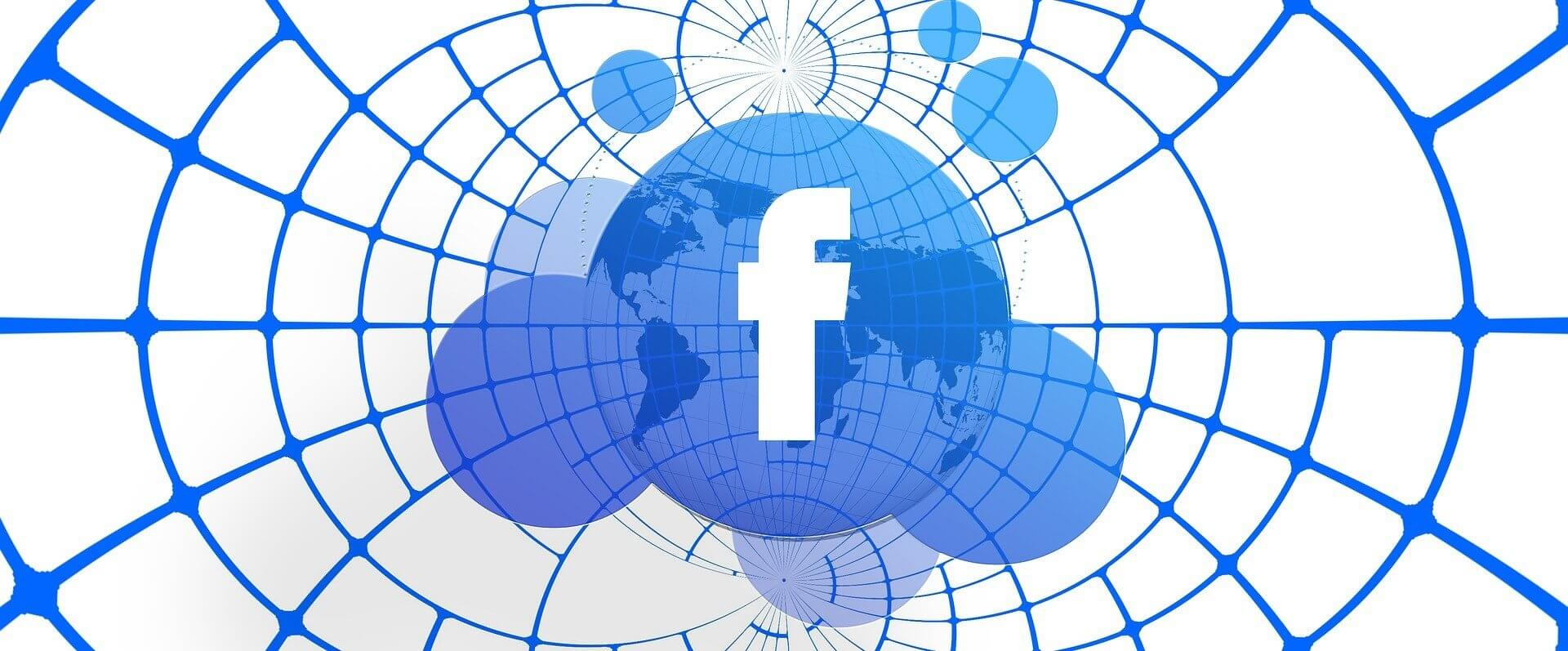 facebook logo on net background