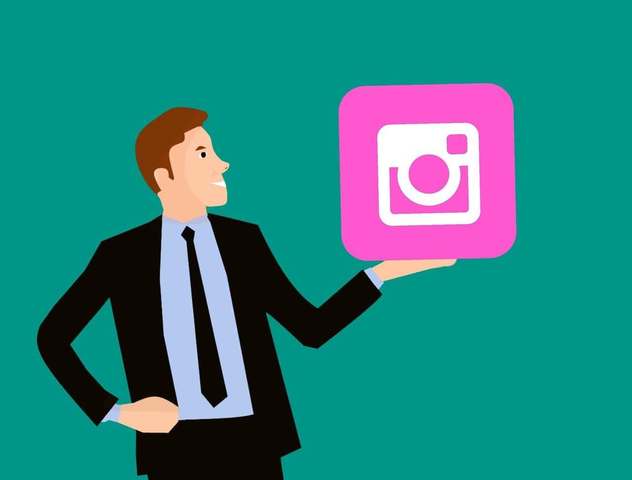 cartoon man holding instagram logo
