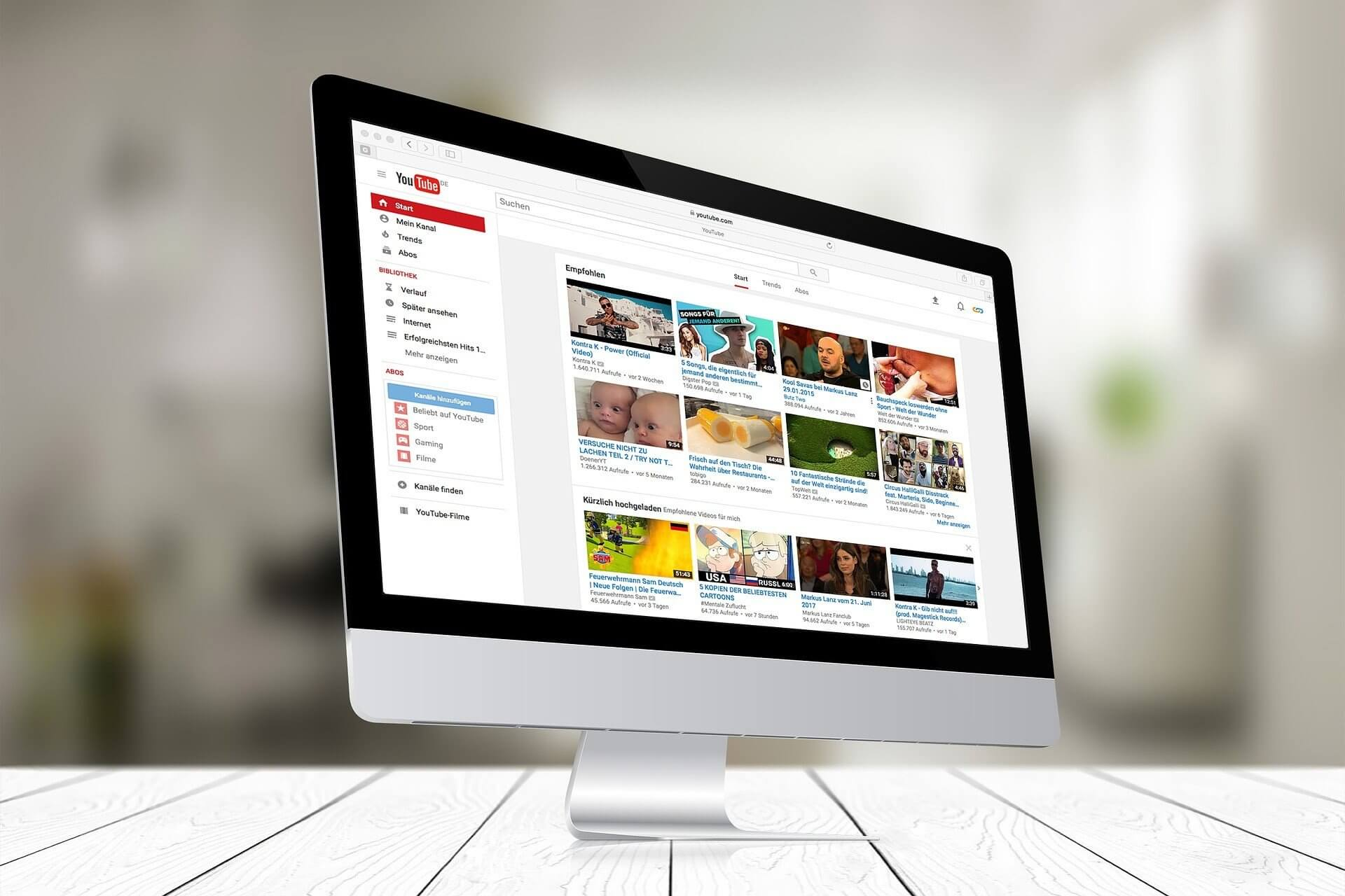 youtube open on computer screen