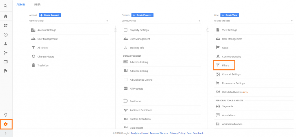 Google Analytics Admin Panel