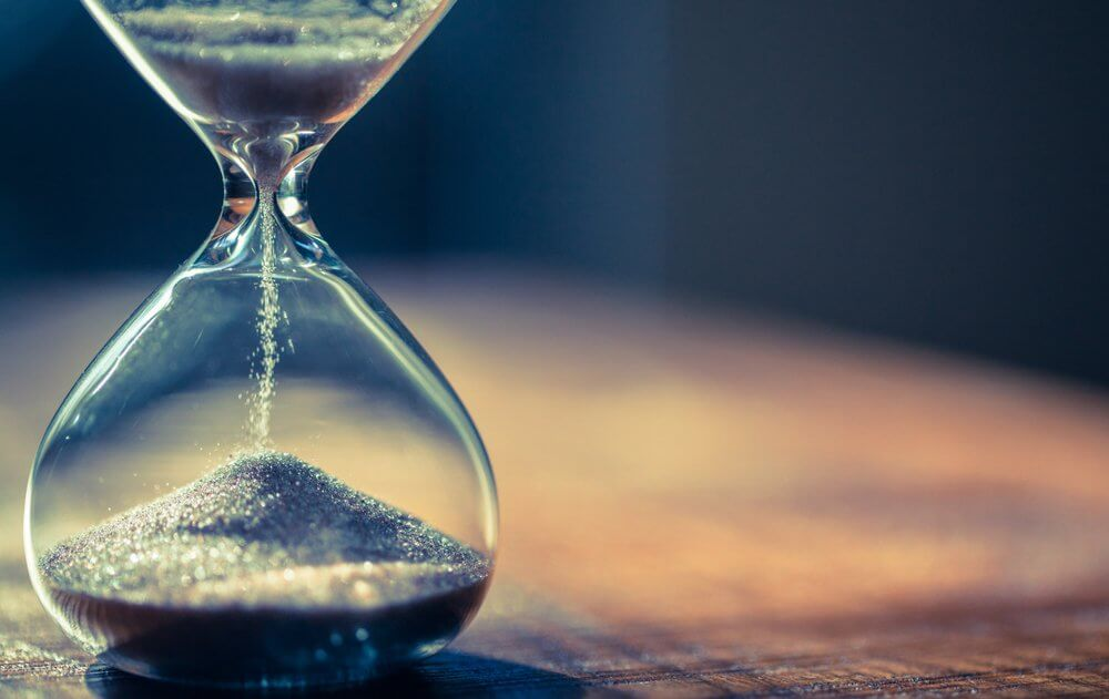 time passing in an hourglass
