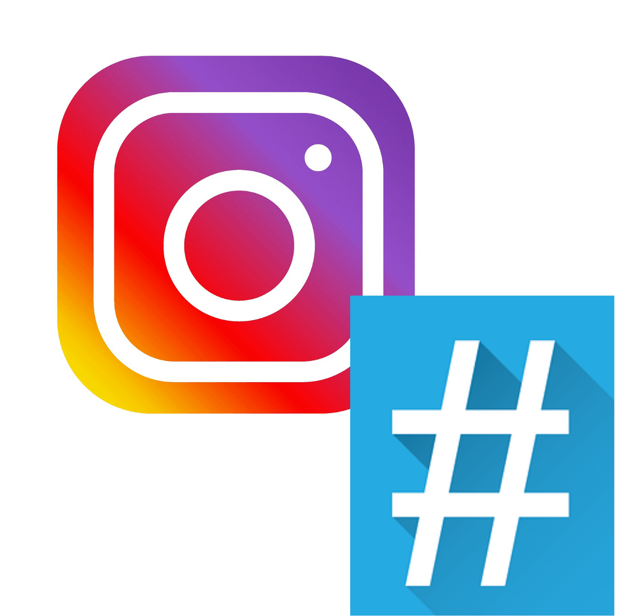 instagram logo and hashtag in one photo