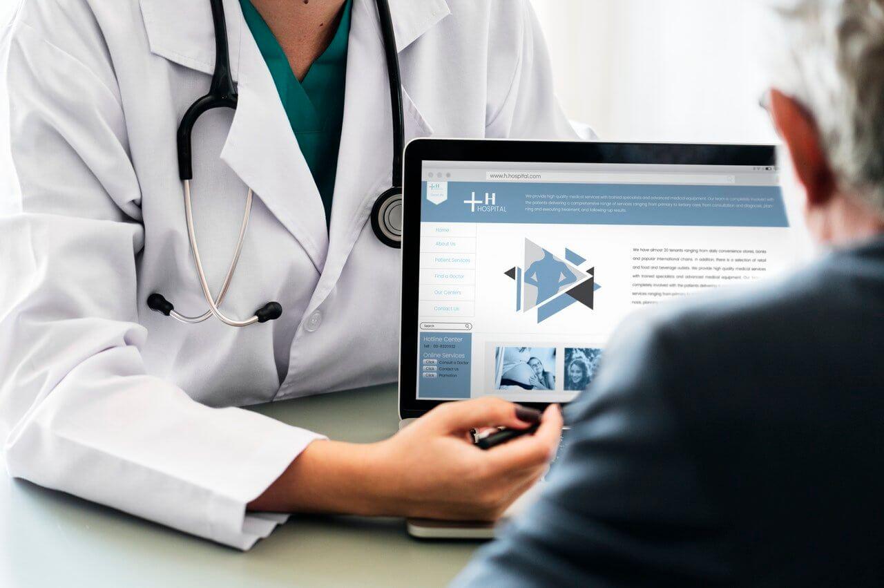 doctor showing website menu