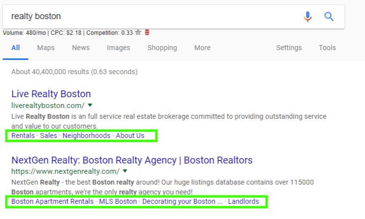 screenshot of search result page with sitelinks highlighted