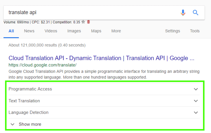 screenshot of new sitelink format for search results