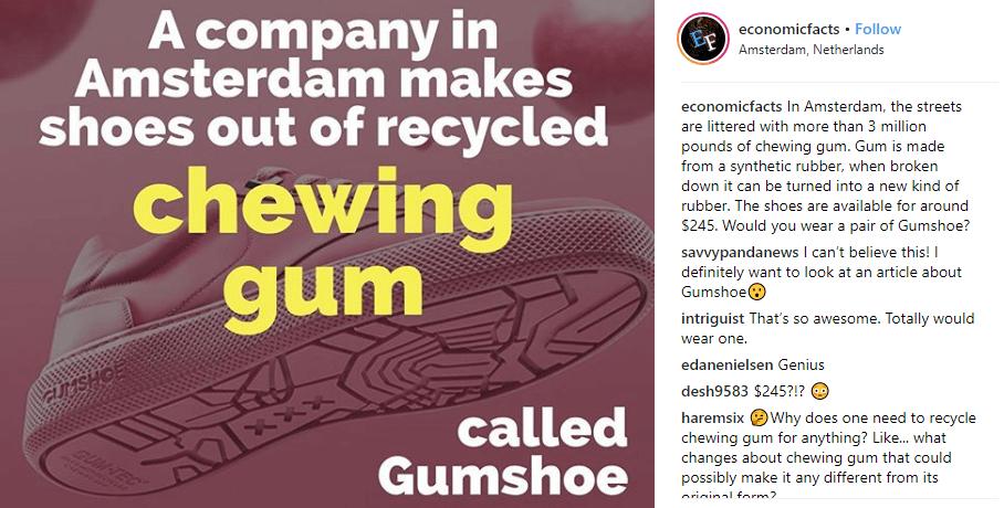 economic facts instagram post on bubble gum