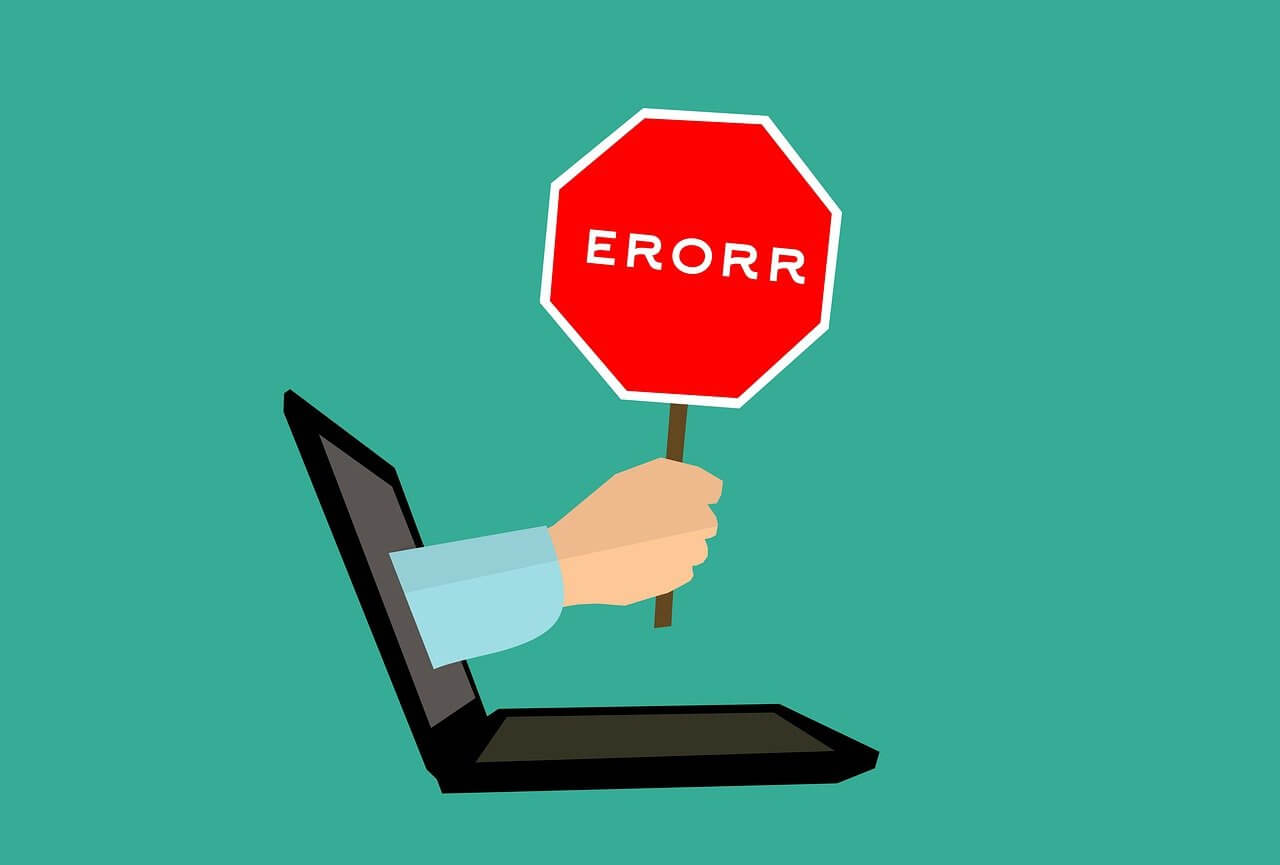 Graphic of an arm sticking out of a laptop screen with a stop sign that says error on it