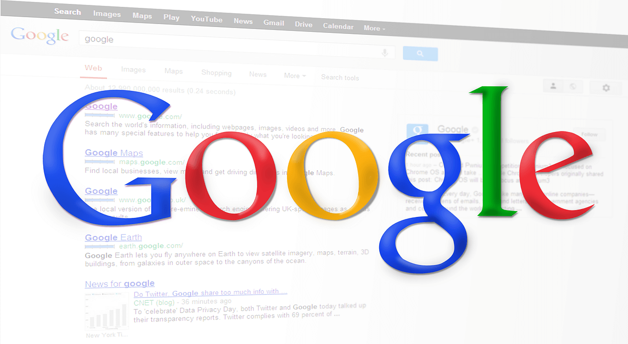 Word Google over a faded search result page