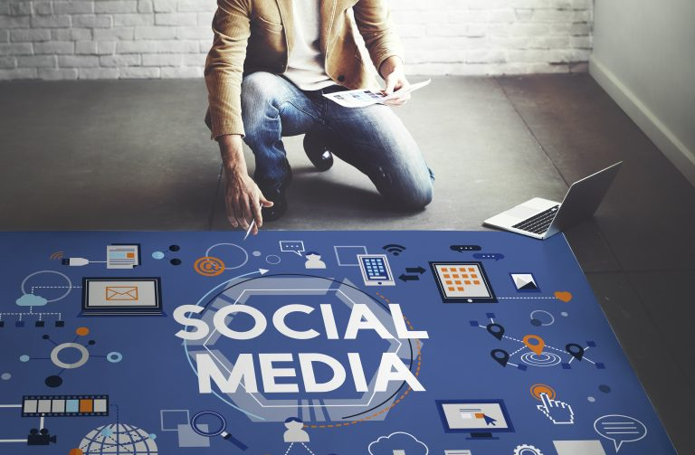 Man pointing at social media picture