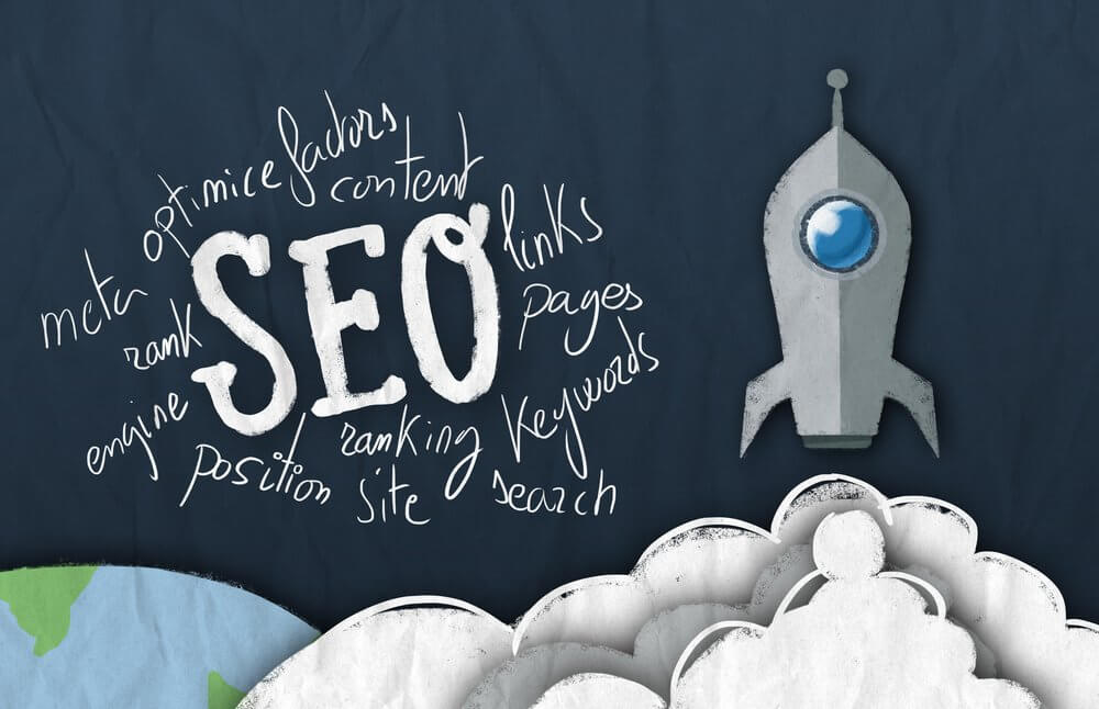 SEO with words around it and rocketship