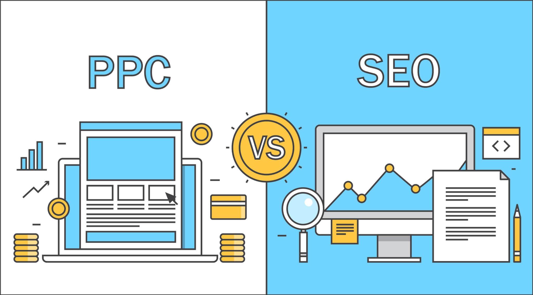 Side by side SEO vs. PPC