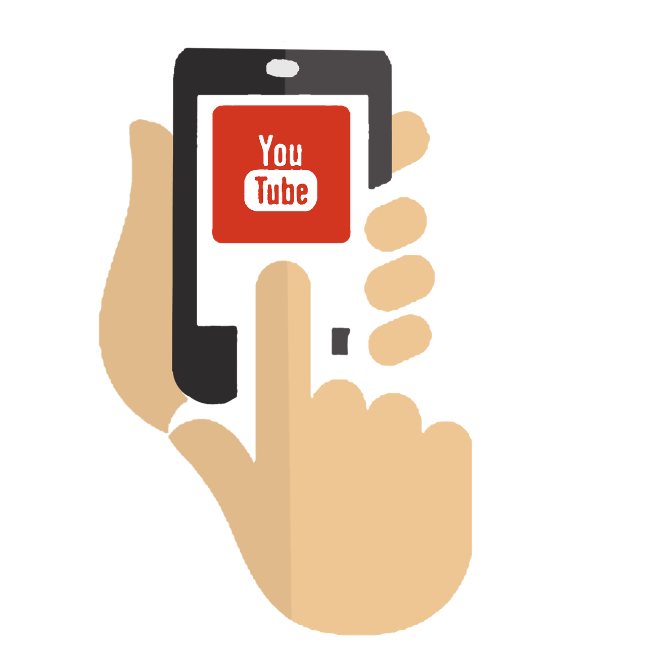 graphic of hands holding a phone with youtube open