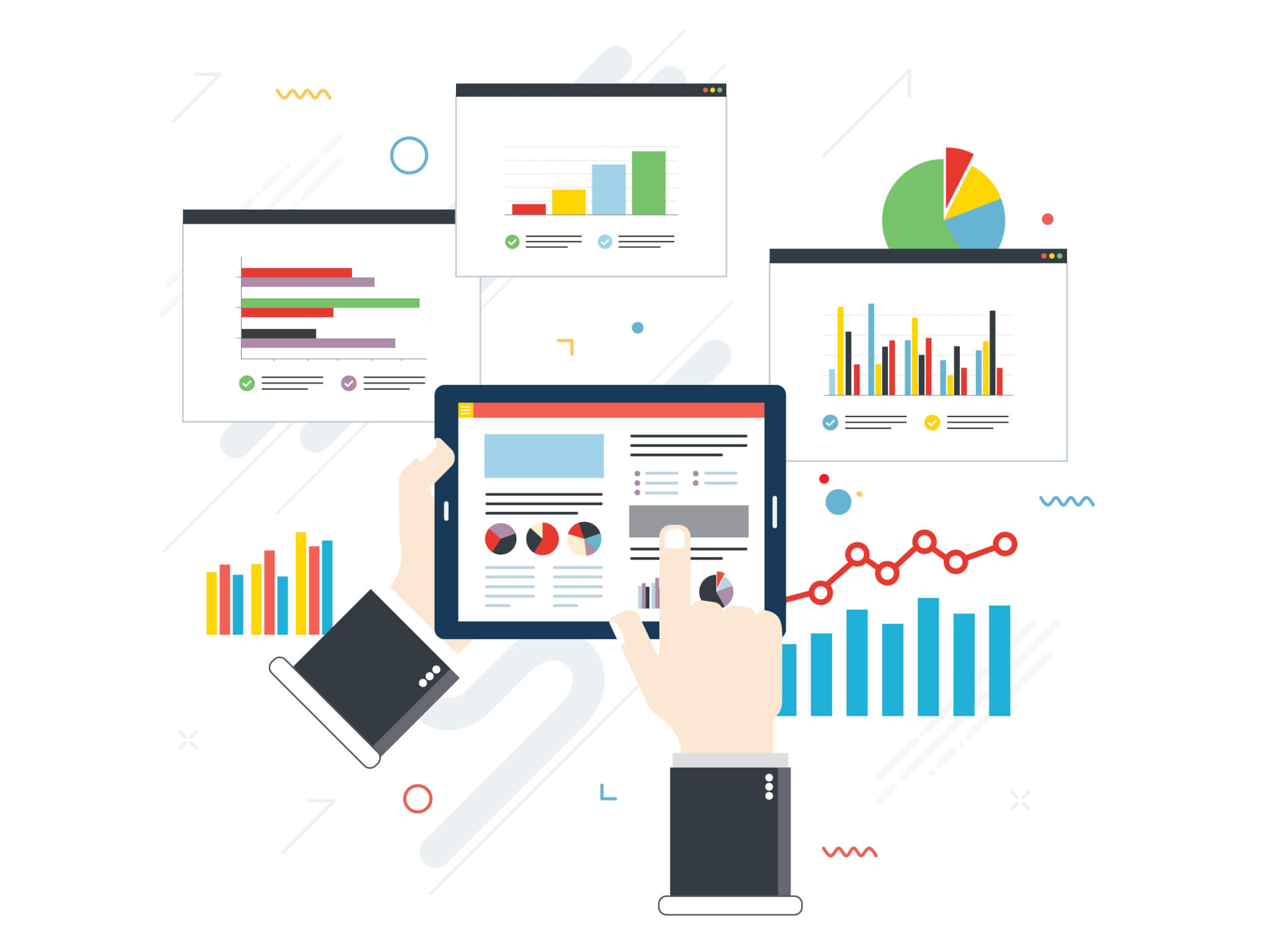 analytics broken down into charts and segments