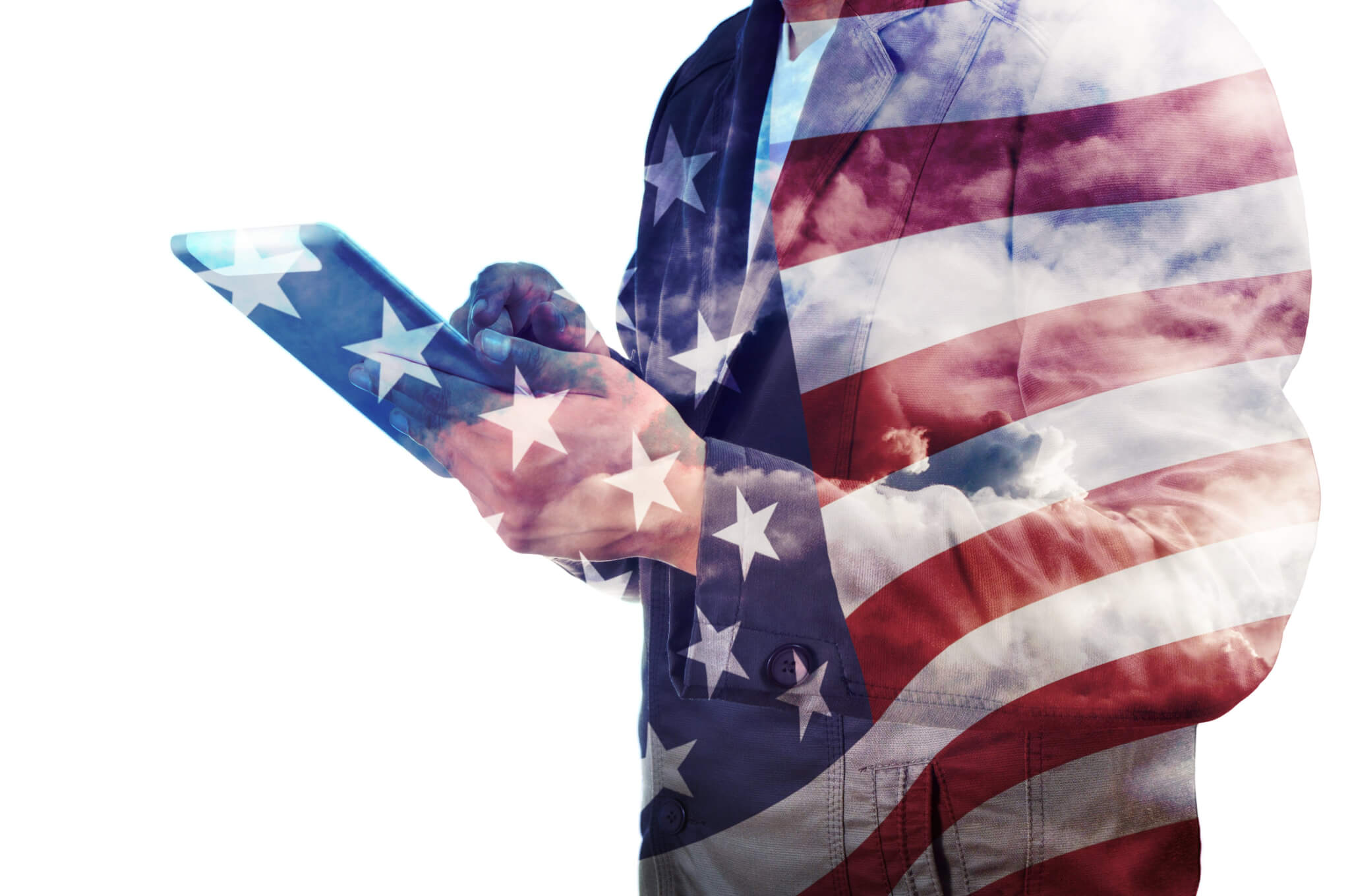 american flag wrapped around person with phone