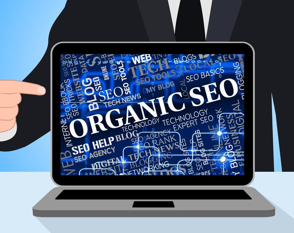 Person pointing to a computer screen with organic seo on the computer