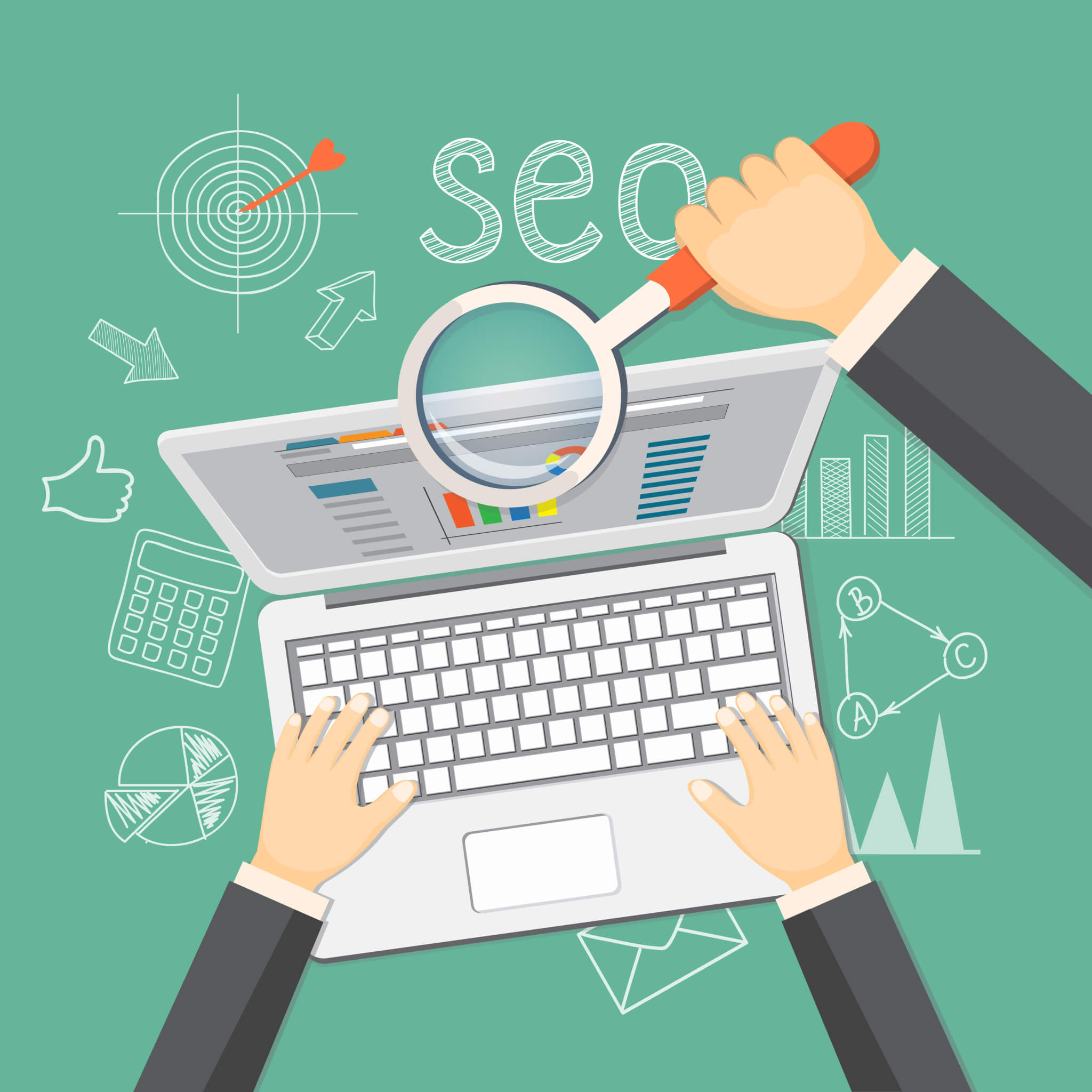 Hands looking at website SEO to rank higher