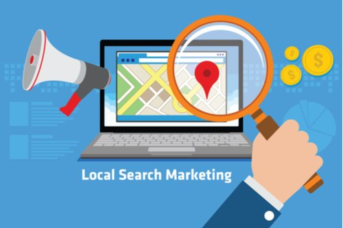 local SEO showing location on a map