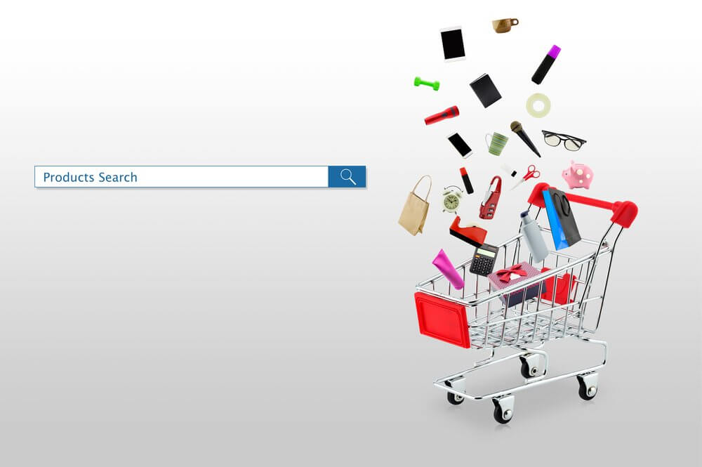 shopping cart with products next to a search bar