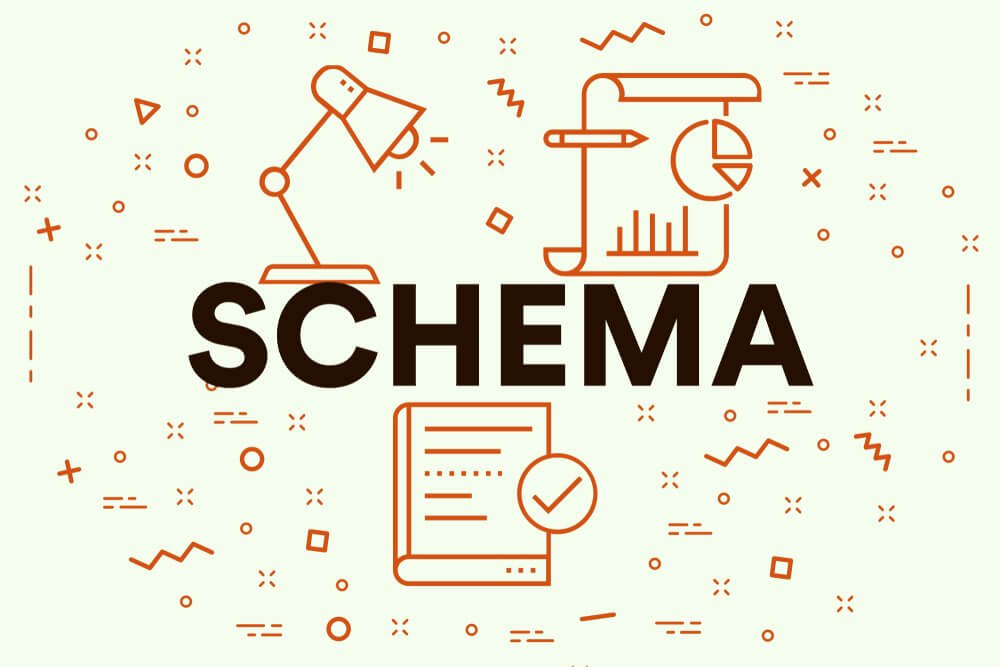 graphic showing the word schema with icons of a desk lamp and book